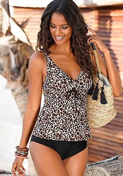 Leopard Print Underwire Tankini Top, High Waisted Bikini Bottom product image (X26047-LE-00)