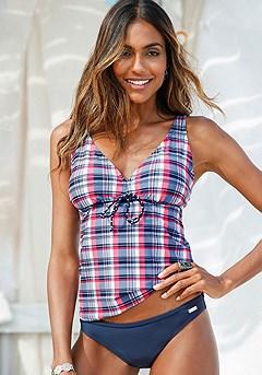 Plaid Tankini Top, Basic Bikini Bottom product image (X26054-RDNV-00)
