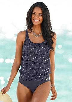 Dotted Oversized Tankini Top, High Waist Bikini Bottom product image (X26108NVPD.X28069.NV)