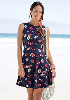 Sleeveless Patterned Dress product image (X29041-NVRD-000-S)