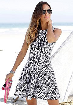 Sleeveless Patterned Dress product image (X29041-WHNV-000-S)