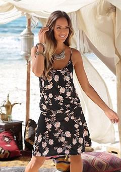Spaghetti Strap Print Dress product image (X29043-BKPR-00)
