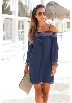 Embroidered Cold Shoulder Dress product image (X29044.NV_FV3.P)