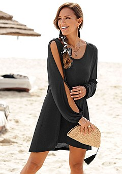 Flowy Cold Shoulder Dress product image (X29050_BK_M)