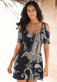 Open Shoulder Dress product image (X29051.BKPR.00)