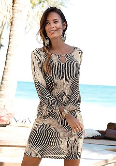 Tie Sleeve Print Dress product image (X29063-BKSA-00)