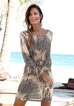 Tie Sleeve Print Dress product image (X29063-BKSA-00)