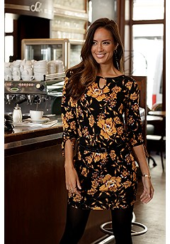 Floral Tie Sleeve Dress product image (X29063BKYL_1)