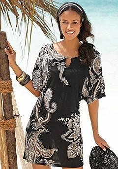 Paisley Print Mini Dress product image (X29095.BKPR.00)