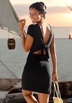 Back Tie Ribbed Dress product image (X29105-BK-01)