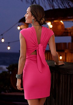 Ribbed Look Back Tie Bodycon Dress product image (X29105-PK-01)