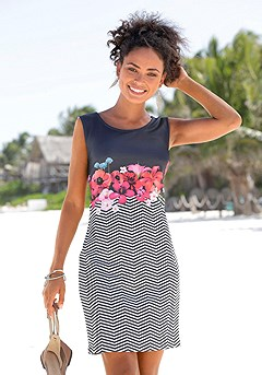 Floral Print Scuba Dress product image (X29107-BWST-00)