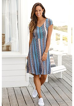 Pattern V-Neck Dress product image (X29109NVPR_1_)