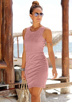 Faux Suede Sleeveless Bodycon Dress product image (X29114.MV.K)