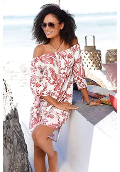 Off Shoulder Floral Dress product image (X29116-RDMU-00)
