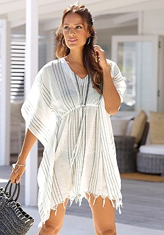 Striped Fringe Cover Up product image (X29118GYST_3)