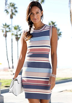 Striped Ribbed Dress product image (X29137-MUPR-00-S)