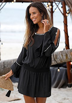 Sequin Sleeve Dress product image (X29138-BKSL-00-S)