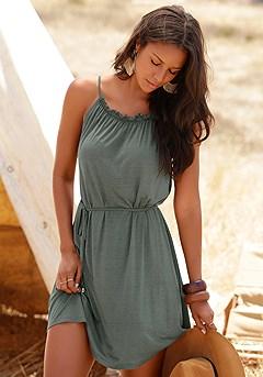 Ruffled Neckline Dress product image (X29145-KH-00-S)