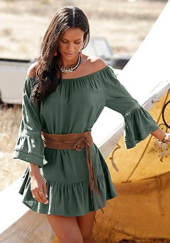 Ruffle Flare Boho Carmen Dress product image (X29146-KH-00-S)
