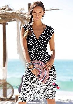 Polka Dot V-Neck Dress product image (X29149-WHDT-00)