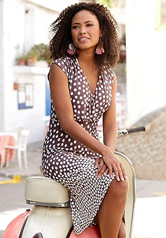 Polka Dot V-Neck Dress product image (X29149.BRMU.1)