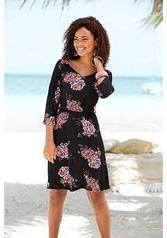 Floral Cut Out Dress product image (X29442.BKPR_FV.P)