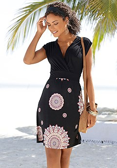 Wrap Look Boho Dress product image (X29443BKPR)