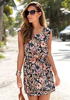 Sleeveless Mix Print Dress product image (X29446BKPR)