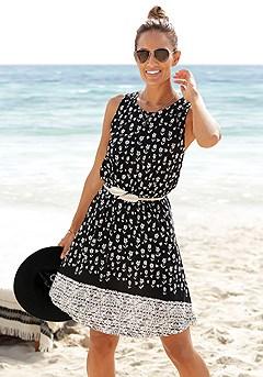 Mix Print Sleeveless Dress product image (X29453.BKSA.1)
