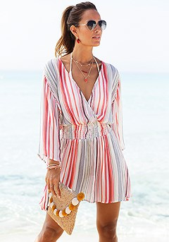 Striped V-Neck Dress product image (X29461.BWST.1S)