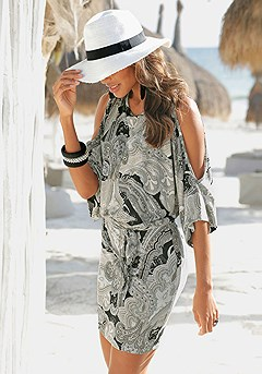 Paisley Cold Shoulder Dress product image (X29470.BRMU_FV.P)