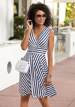 Striped V-Neck Dress product image (X29485WHNV)