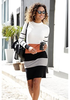 Color Block Turtleneck Dress product image (X29490BWST_1)