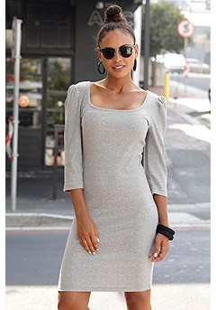 Ribbed Puff Sleeve Dress product image (X29491GYMO_1)