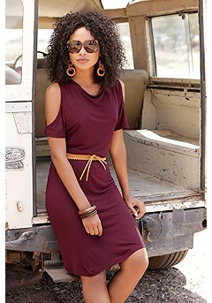 Cold Shoulder Cinched Waist Dress product image (X29493WI_1)