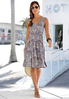 Sleeveless Paisley Dress product image (X29497NVPR)
