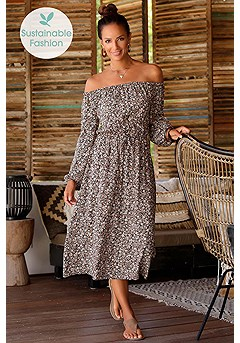 Carmen Neckline Midi Dress product image (X29501BRMU_1)