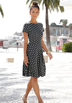 Polka Dot Flare Dress product image (X29512.GYPR_1)