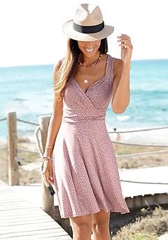 Printed Wrap Look Dress product image (X29514LEMV_1)