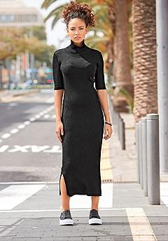 Ribbed Turtleneck Midi Dress product image (X29521BK_1)