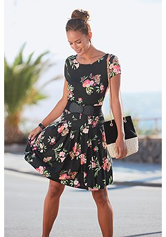 Pleated Floral Print Dress product image (X29525BKMU_1)