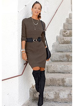 Soft Sweater Dress, Faux Suede Waist Belt product image (X29529KH_1)