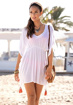 Tassel Detail V-Neck Cover Up product image (X29538WH_1)