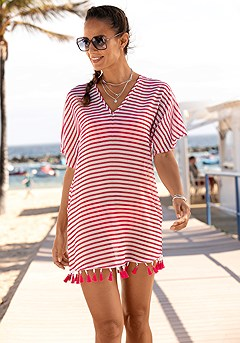 Striped V-Neck Cover Up product image (X29539.WHST.1)