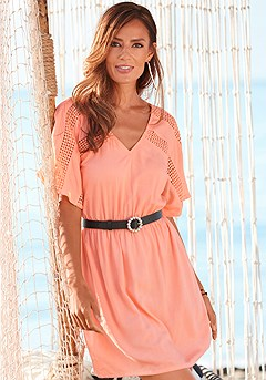 V-Neck Lace Trim Dress product image (X29554PAP_1)
