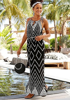 Multi Print Maxi Dress product image (X30014.BKWH.1)