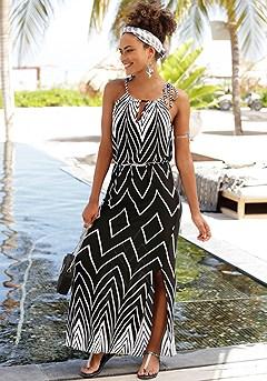 Multi Print Maxi Dress product image (X30014BKWH-S)