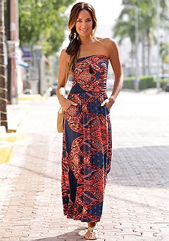 Paisley Bandeau Maxi Dress product image (X30015-RDNV)