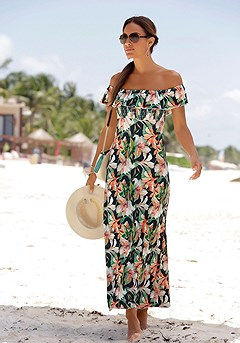 Carmen Neckline Maxi Dress product image (X30018-ORNV-00)